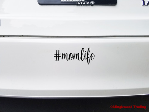 """Two (2) #momlife 5"""" x 2"""" BLACK Vinyl Decal Stickers - Mom Life Mother Kids Children Family"""
