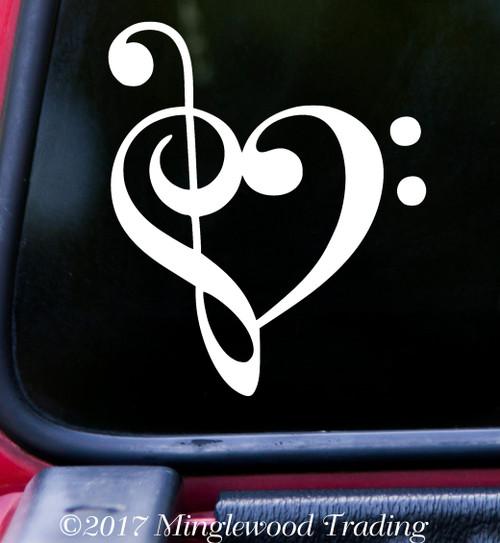 """HEART MUSIC NOTE 5"""" x 4.25"""" Vinyl Decal Sticker - Love Musician"""