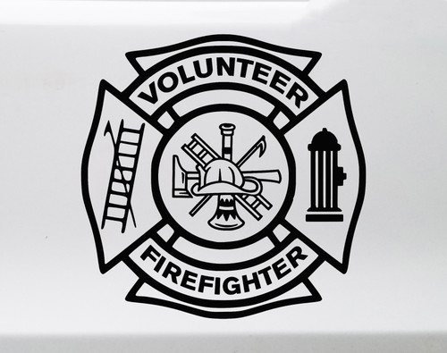 Volunteer Firefighter Vinyl Decal - VFD Fire Dept Maltese Cross - Die Cut Sticker