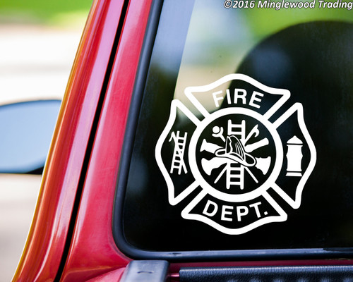 FIRE DEPARTMENT Vinyl Sticker - FD Firefighter Maltese Cross - Die Cut Decal