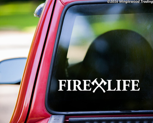 "FIRE LIFE 11.5"" x 2"" Vinyl Decal Sticker - Crossed Axes - Firefighter V1 FD Fire Department"