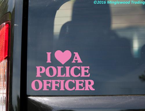 "I LOVE A POLICE OFFICER 8"" x 5"" Vinyl Decal Sticker - Cop Heart Police Dept"