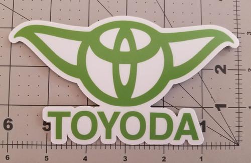 "TOYODA 6"" x 3.5"" GREEN Die Cut Vinyl Sticker - Toyota Yoda Prius Corolla RAV4"