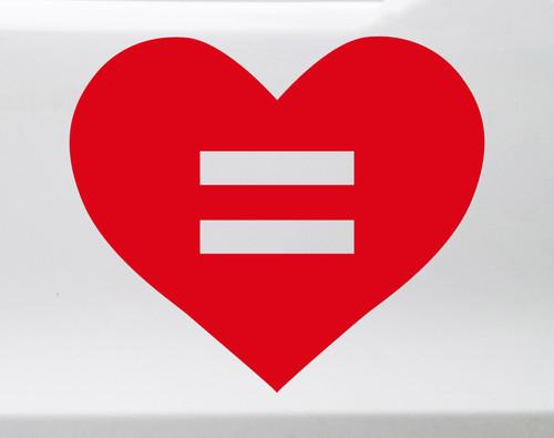 Equal Rights Heart Vinyl Decal - LGBTQ Lesbian Trans Gay Homosexual - Die Cut Sticker