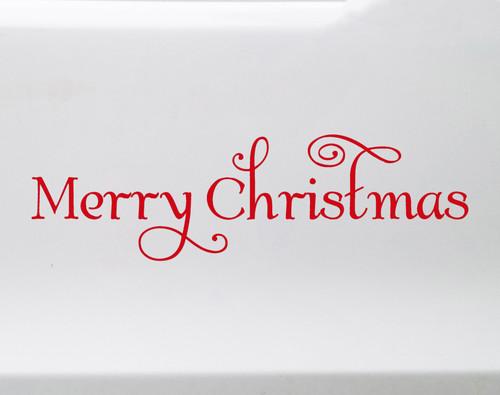 Merry Christmas Vinyl Decal - Holiday Door Greeting - Die Cut Sticker