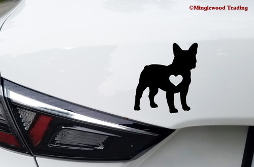 "FRENCH BULLDOG HEART 5"" x 4.5"" Vinyl Decal Sticker Frenchie Love Dog Puppy"