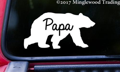 "PAPA BEAR v2 - 5"" x 2.5"" Vinyl Decal Sticker - Grizzly Black Kodiak Father Dad Daddy Grampa"