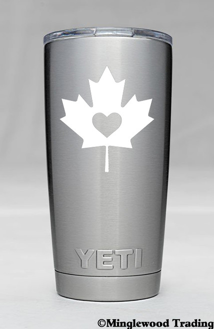 """2x MAPLE LEAF with HEART 2.5"""" x 2.5"""" Vinyl Decal Stickers - Canada Canadian Flag"""