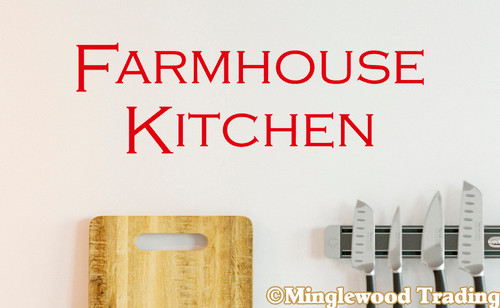 "FARMHOUSE KITCHEN 14"" x 5"" Vinyl Decal Sticker - Country Cooking Dinner - 20 Color Options"