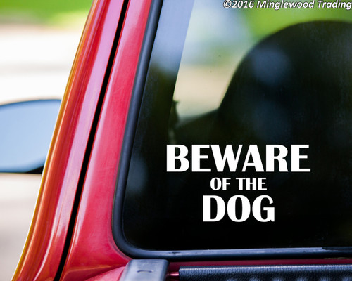 """BEWARE OF THE DOG 8"""" x 4.25"""" Vinyl Decal Sticker   - 20 Color Options"""