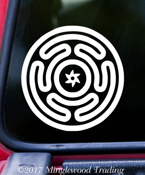 "HECATE'S WHEEL 5"" Vinyl Decal Sticker - Wiccan Symbol Strophalos Goddess"