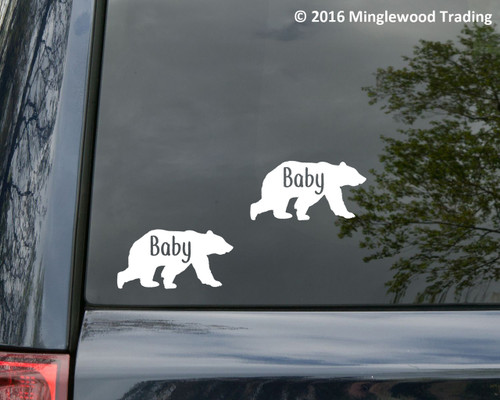 """2x BABY BEAR 4"""" x 2"""" Vinyl Decal Stickers - Child Baby Infant - Grizzly Brown Kodiak"""
