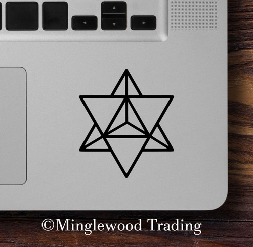 "2x MERKABA STAR TETRAHEDRON 2.5"" x 2"" Vinyl Decal Stickers - Sacred Geometry"