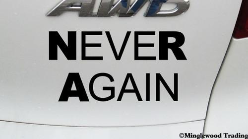 "NEVER AGAIN 5.5"" x 3"" Vinyl Decal Sticker - NRA - Gun Reform - Resist"