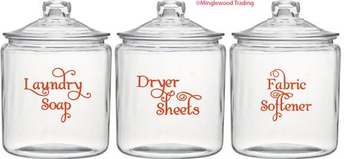 Laundry Room Vinyl Decal Set - Laundry Soap - Fabric Softener - Dryer Sheets - V1 - SWASH