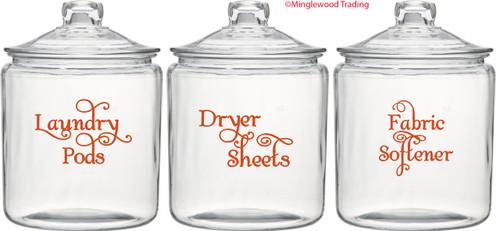 Laundry Room Vinyl Decal Set - Laundry Pods - Fabric Softener - Dryer Sheets - V2