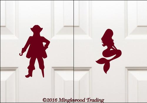 """PIRATE & MERMAID Bathroom Signs 7"""" Vinyl Decal Stickers - Toilet Restroom Door Signs"""