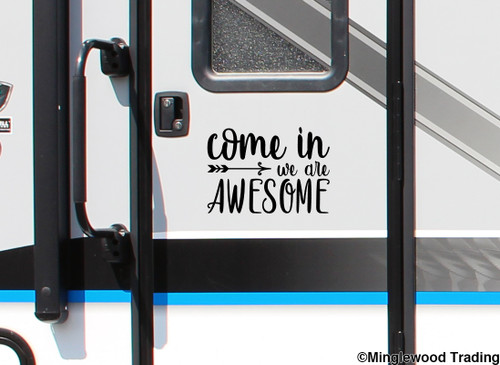 """Come In We Are Awesome 10"""" x 7"""" Vinyl Decal Sticker - Front Door Home Greeting"""