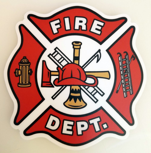 "FIRE DEPT 5"" Die Cut Decal - Firefighter - Maltese Cross FD Logo Badge Department"