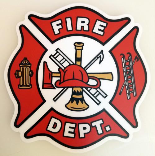 """FIRE DEPT 5"""" Die Cut Decal - Firefighter - Maltese Cross FD Logo Badge Department"""