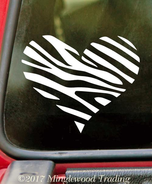 ZEBRA HEART Vinyl Sticker - Stripes Love Animal - Die Cut Decal