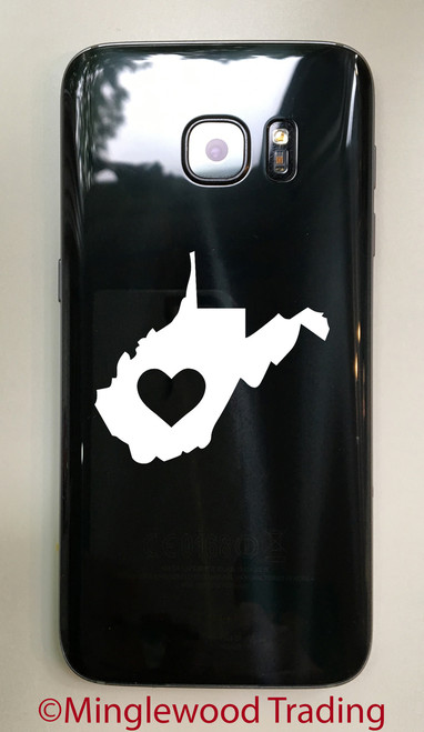 """2x WEST VIRGINIA HEART 2.5"""" Vinyl Decal Stickers - State WV - 20 COLOR OPTIONS"""