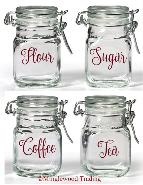 Set of 4 Canister Labels -V2- Vinyl Decal Stickers Kitchen Flour Sugar Tea Coffee - Fancy