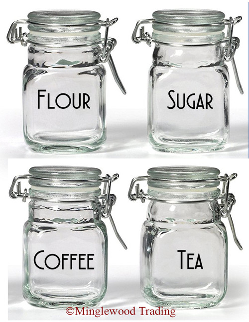 Set of 4 Canister Labels -V4- Vinyl Decal Stickers Kitchen Flour Sugar Tea Coffee - Deco
