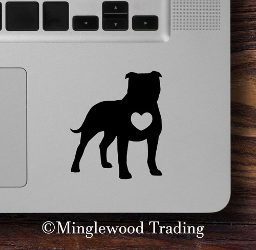 PIT BULL HEART Vinyl Sticker - Pitbull Dog Puppy - Die Cut Decal