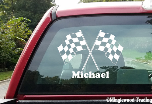 """CHECKERED FLAGS with Personalized Name 20"""" x 15"""" Vinyl Decal Sticker"""
