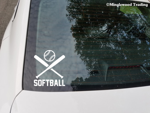 "SOFTBALL Crossed Bats with Ball 5"" Vinyl Decal Sticker - Fastpitch Slow Pitch"