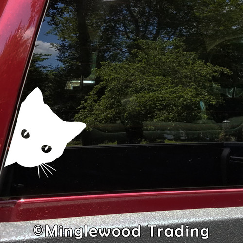 CAT PEEKING Vinyl Sticker - Feline Pet Kitten - Die Cut Decal