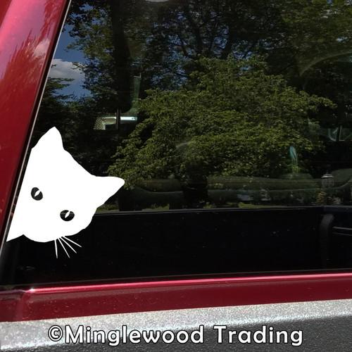 CAT PEEKING Vinyl Sticker - Feline Pet Kitten - Die Cut Decal