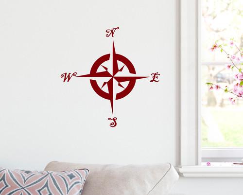 Compass Rose Vinyl Decal V1 -Travel Wander Adventure - Die Cut Sticker