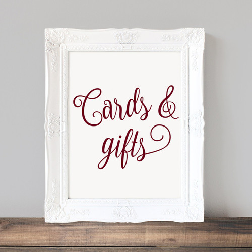 "CARDS & GIFTS 8"" x 6.5"" Vinyl Decal Sticker - Wedding Label Sign"
