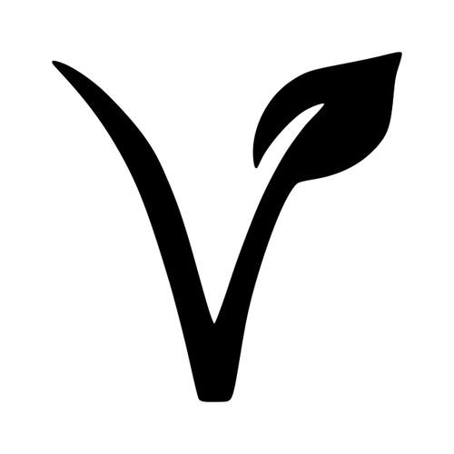 V VEGAN LEAF Vinyl Sticker - Veganism Plant Based Healthy - Die Cut Decal
