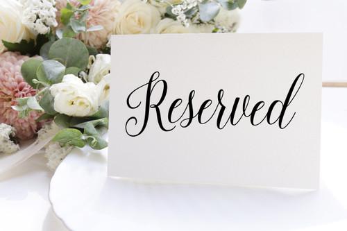 "RESERVED 6"" x 2"" Vinyl Decal Sticker - Wedding Table"