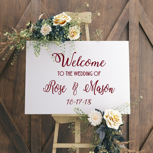 "WELCOME TO THE WEDDING OF 20"" x 15"" Vinyl Decal Sticker - V1 - Personalized"
