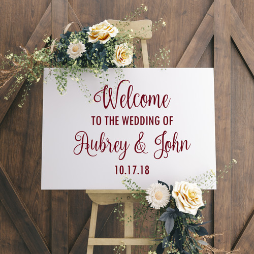 "WELCOME TO THE WEDDING OF 20"" x 16"" Vinyl Decal Sticker - V2 - Personalized"