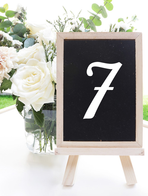"TABLE NUMBERS 3"" Vinyl Decal Stickers - Wedding Seating Reception Rehearsal Dinner"