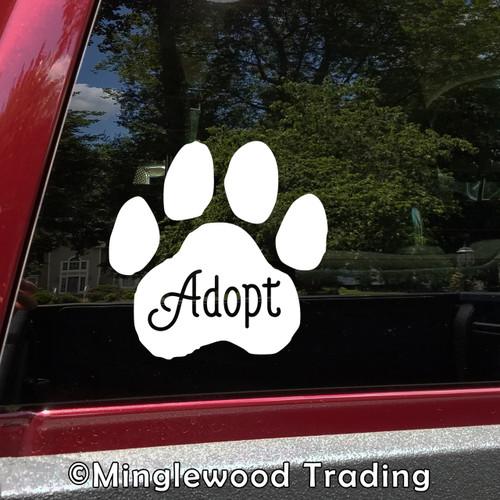 ADOPT PAWPRINT Vinyl Sticker - Dog Cat Paw Foster Rescue Puppy Kitten - Die Cut Decal