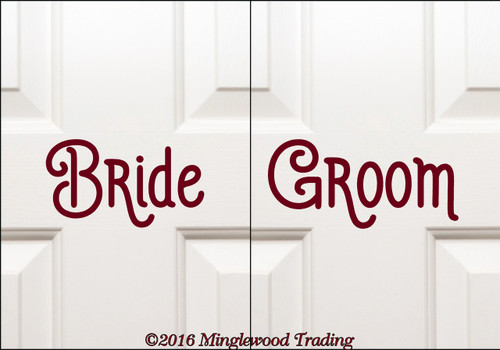 "BRIDE and GROOM 7.5"" Vinyl Decal Stickers - V2 - Wedding"