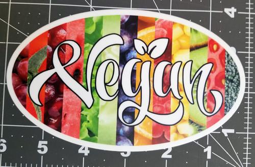 """VEGAN 6"""" x 3.5"""" Die Cut Sticker - Oval Decal - Fruits Vegetables Veganism"""