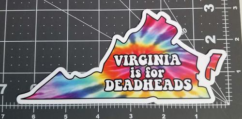 "Virginia is for Deadheads 6.5"" x 3"" Die Cut Decal - The Grateful Dead Tie Dye Jerry Garcia"