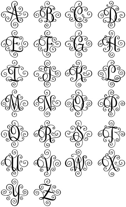 SCROLL MONOGRAM INITIAL Vinyl Decal Sticker - Decorative Letter Script Lettering