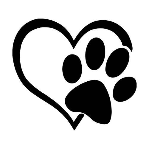 Heart with Pawprint Vinyl Decal - Dog Cat Love Pet Puppy Kitten - Die Cut Sticker