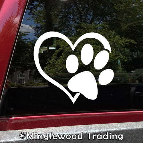 Heart with Pawprint Vinyl Decal Sticker - Dog Cat Love Pet Puppy KittenHeart with Pawprint Vinyl Decal Sticker - Dog Cat Love Pet Puppy Kitten