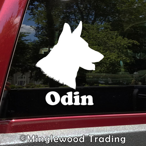 GERMAN SHEPHERD Head with Personalized Name Vinyl Decal Sticker - GSD Dog Profile Silhouette