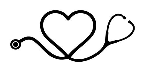 HEART STETHOSCOPE Vinyl Sticker - Doctor Nurse EMT RN Med School - Die Cut Decal
