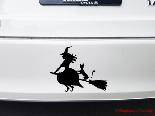 Witch on Broomstick Vinyl Decal Sticker -V7- Flying - Cat Halloween
